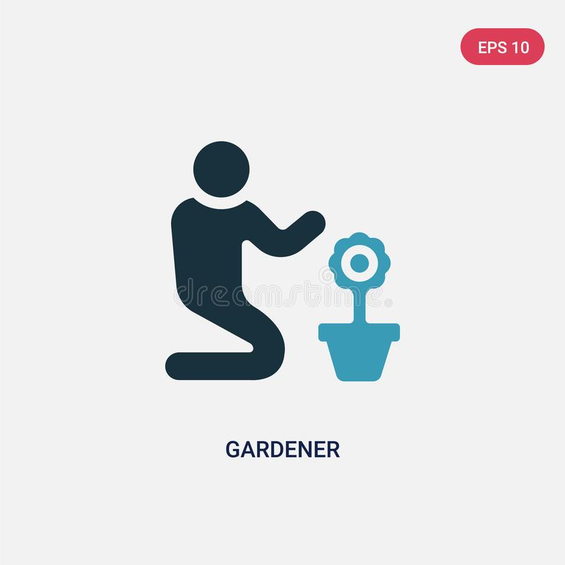 Two color gardener vector icon from people skills concept. isolated blue gardener vector sign symbol can be use for web, mobile royalty free illustration