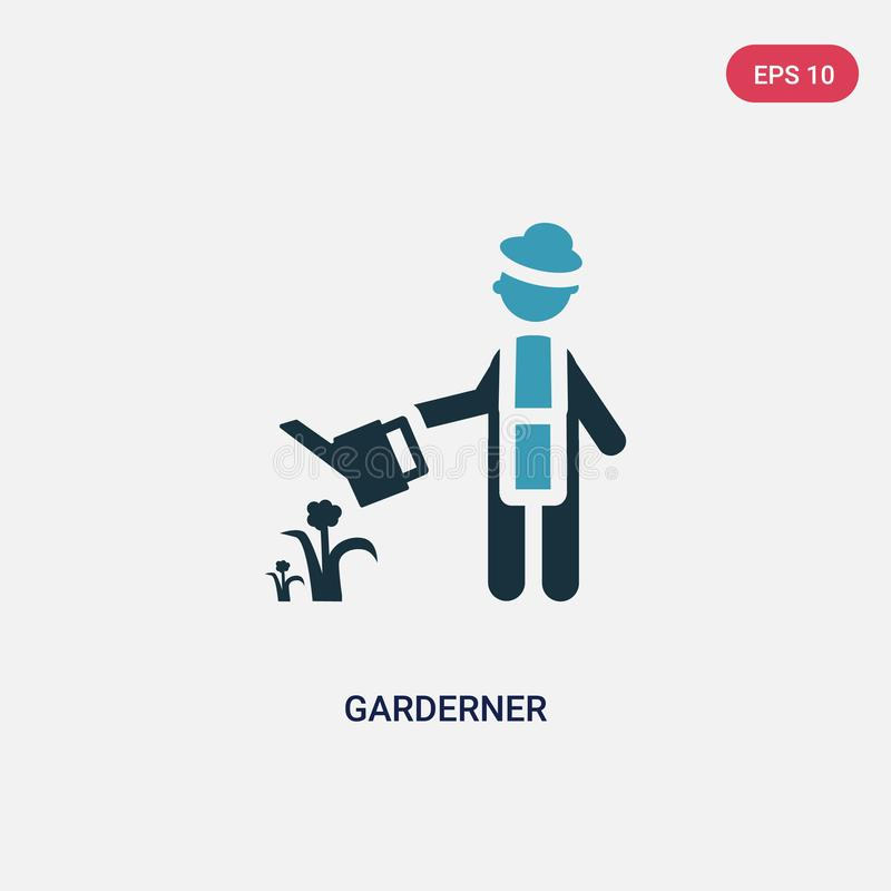 Two color garderner vector icon from people concept. isolated blue garderner vector sign symbol can be use for web, mobile and stock illustration