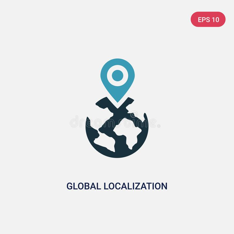 Two color global localization vector icon from networking concept. isolated blue global localization vector sign symbol can be use vector illustration