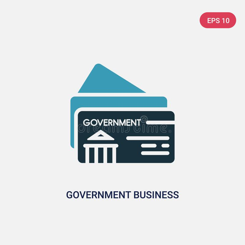 Two color government business card vector icon from other concept. isolated blue government business card vector sign symbol can stock illustration