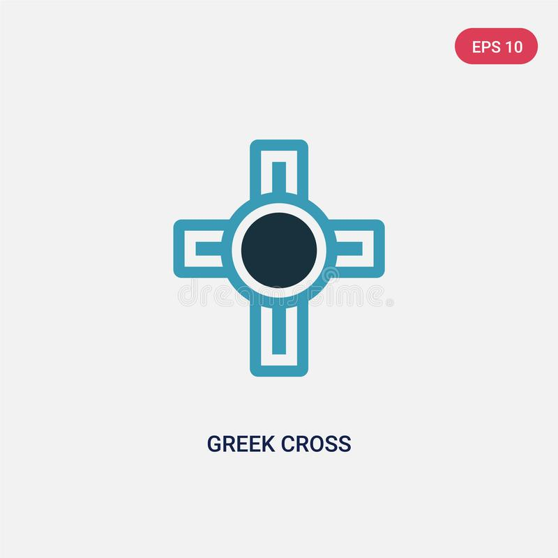 Two color greek cross vector icon from religion concept. isolated blue greek cross vector sign symbol can be use for web, mobile royalty free illustration