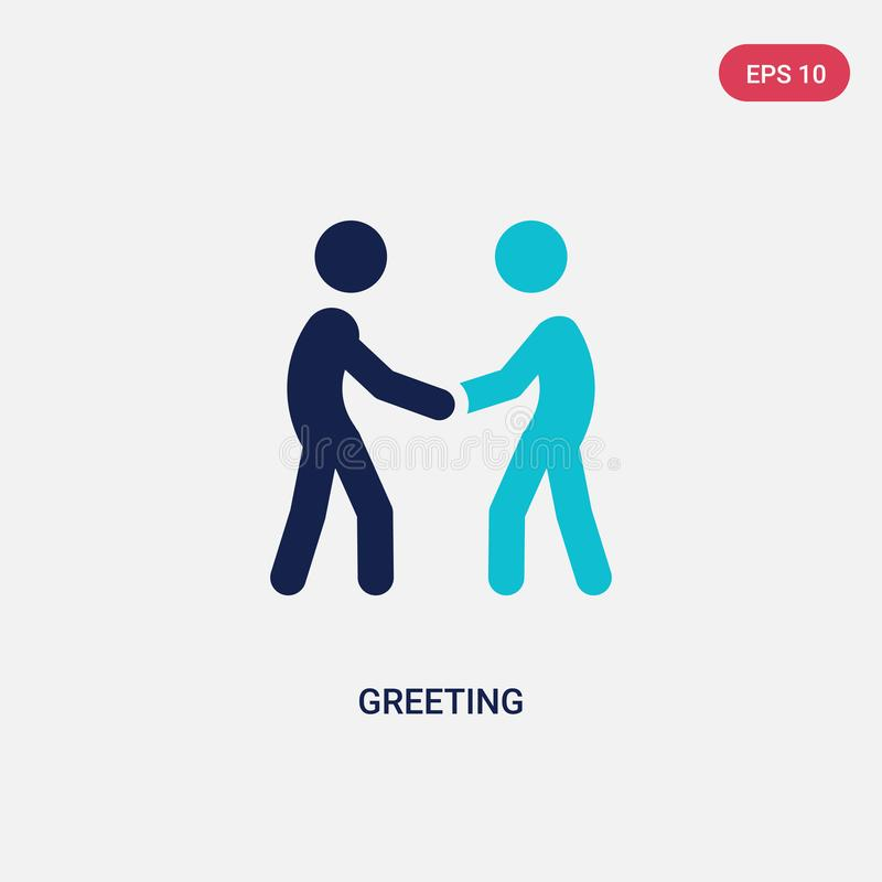 two color greeting vector icon from activity and hobbies concept. isolated blue greeting vector sign symbol can be use for web, royalty free illustration