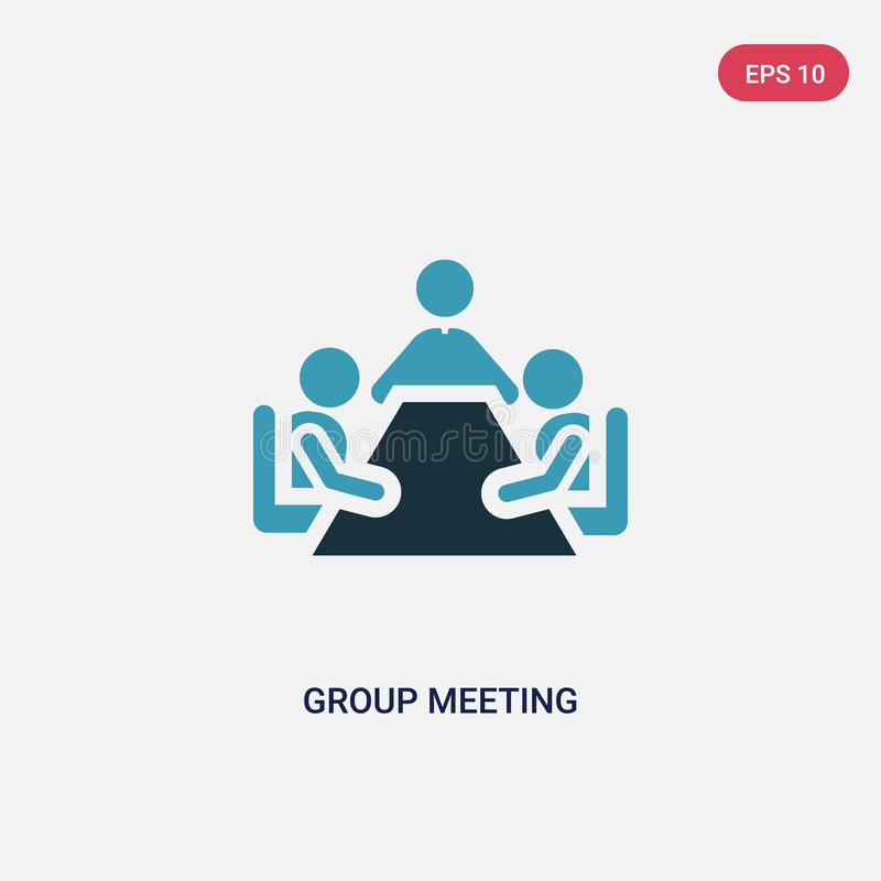 Two color group meeting vector icon from people concept. isolated blue group meeting vector sign symbol can be use for web, mobile stock illustration