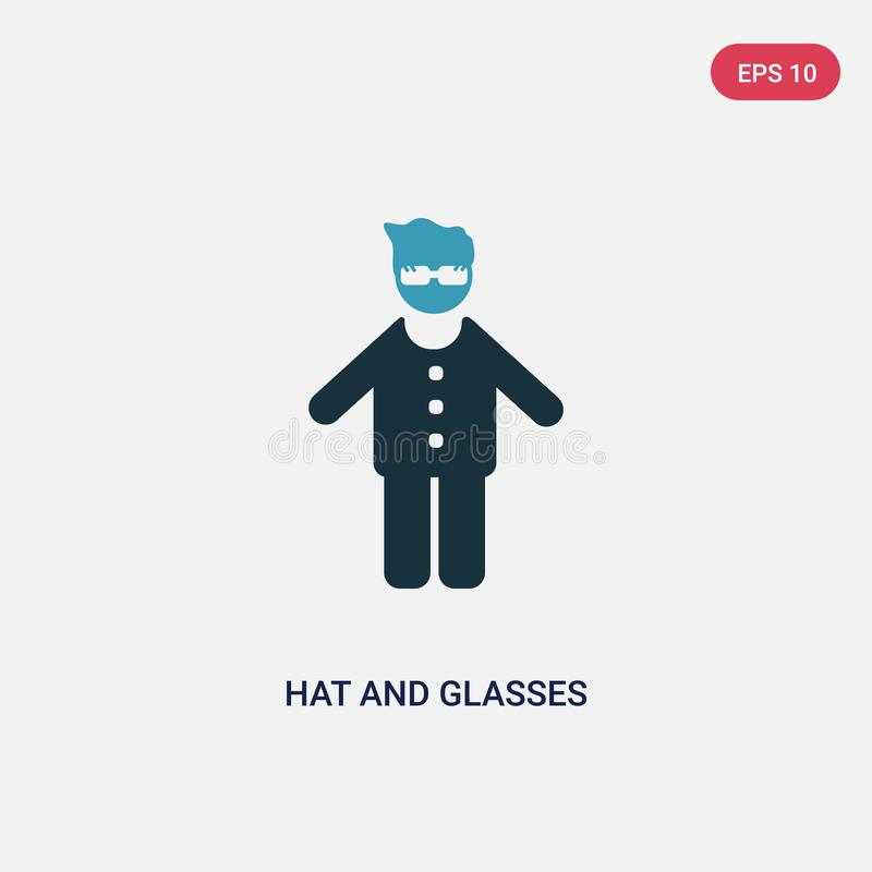 Two color hat and glasses vector icon from people concept. isolated blue hat and glasses vector sign symbol can be use for web, stock illustration