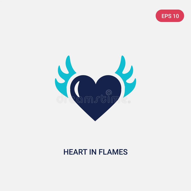 Two color heart in flames vector icon from general concept. isolated blue heart in flames vector sign symbol can be use for web, royalty free illustration