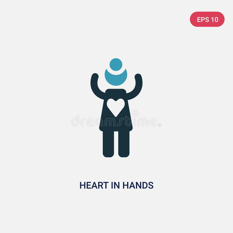 Two color heart in hands vector icon from people concept. isolated blue heart in hands vector sign symbol can be use for web, vector illustration