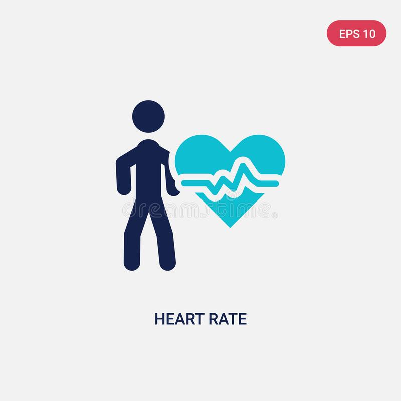 two color heart rate vector icon from activities concept. isolated blue heart rate vector sign symbol can be use for web, mobile stock illustration