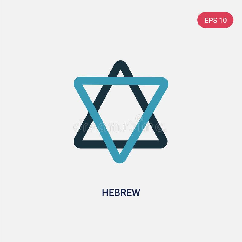 Two color hebrew vector icon from religion-2 concept. isolated blue hebrew vector sign symbol can be use for web, mobile and logo. Eps 10 vector illustration