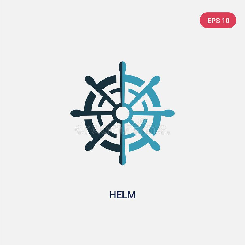 Two color helm vector icon from nautical concept. isolated blue helm vector sign symbol can be use for web, mobile and logo. eps vector illustration