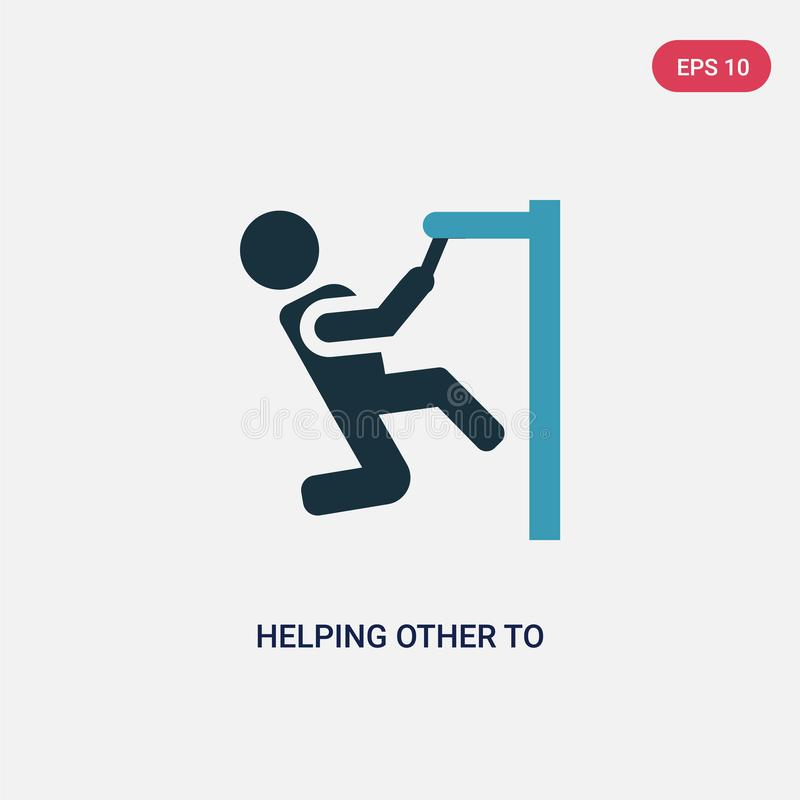 Two color helping other to jump vector icon from people concept. isolated blue helping other to jump vector sign symbol can be use. For web, mobile and logo vector illustration