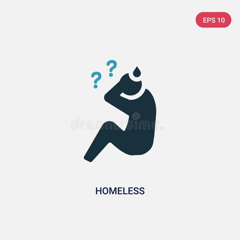 Two color homeless vector icon from social concept. isolated blue homeless vector sign symbol can be use for web, mobile and logo stock illustration