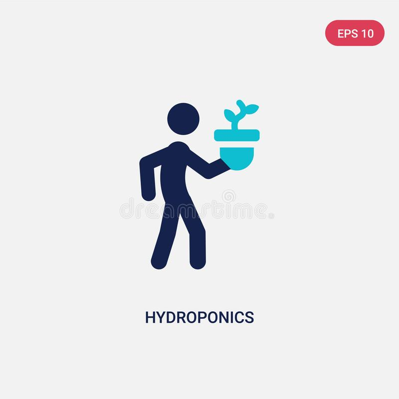 two color hydroponics vector icon from activity and hobbies concept. isolated blue hydroponics vector sign symbol can be use for royalty free illustration