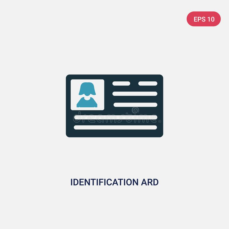 Two color identification ard vector icon from people concept. isolated blue identification ard vector sign symbol can be use for stock illustration