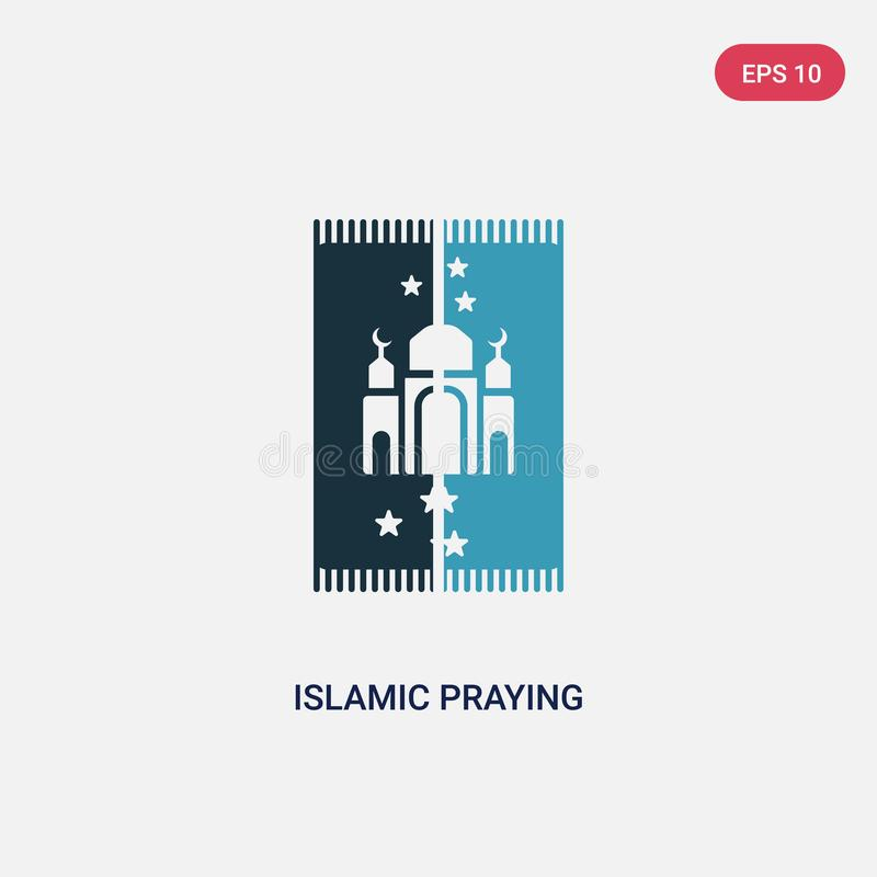 Two color islamic praying carpet vector icon from religion-2 concept. isolated blue islamic praying carpet vector sign symbol can stock illustration