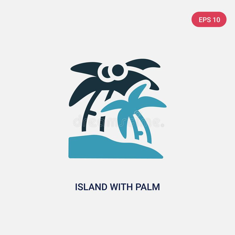 Two color island with palm trees vector icon from summer concept. isolated blue island with palm trees vector sign symbol can be vector illustration
