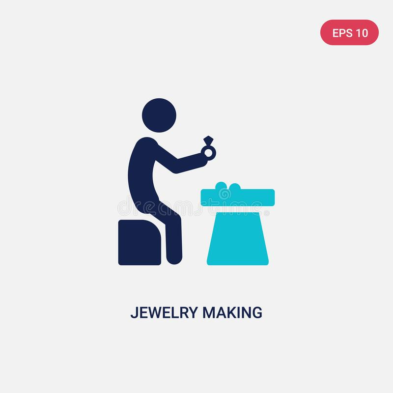 Two color jewelry making vector icon from activity and hobbies concept. isolated blue jewelry making vector sign symbol can be use. For web, mobile and logo stock illustration