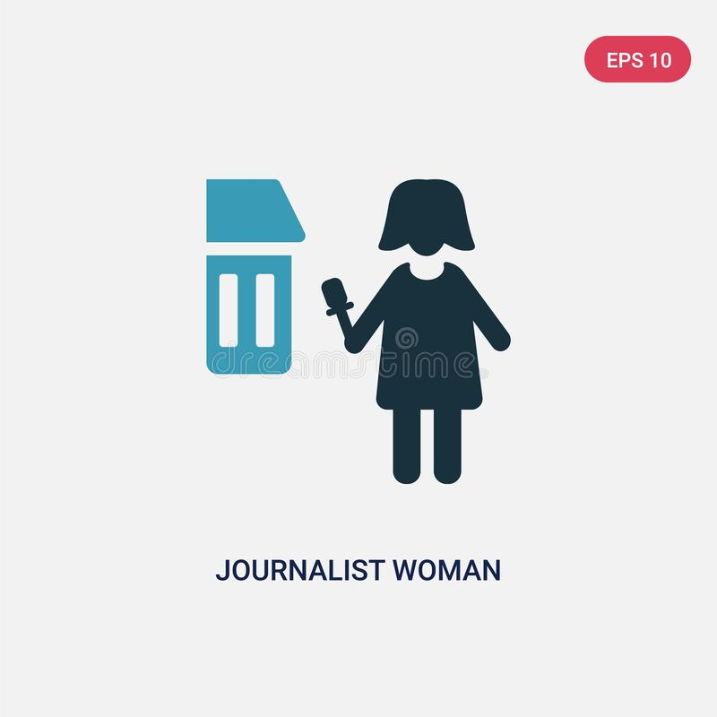 Two color journalist woman talking about culture vector icon from people concept. isolated blue journalist woman talking about stock illustration