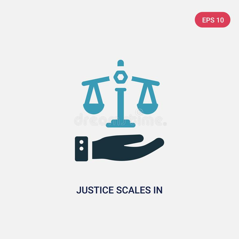 Two color justice scales in hand vector icon from law and justice concept. isolated blue justice scales in hand vector sign symbol royalty free illustration