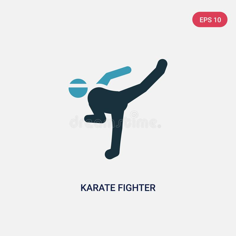 Two color karate fighter vector icon from sports concept. isolated blue karate fighter vector sign symbol can be use for web, vector illustration