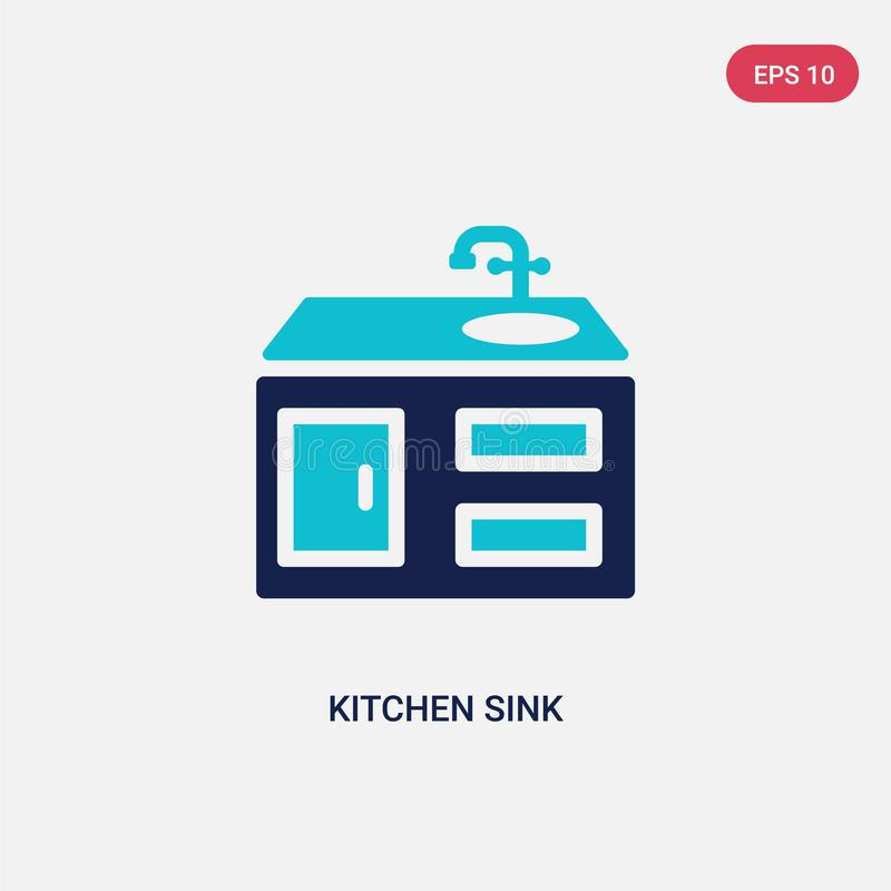 Two color kitchen sink vector icon from furniture concept. isolated blue kitchen sink vector sign symbol can be use for web, vector illustration