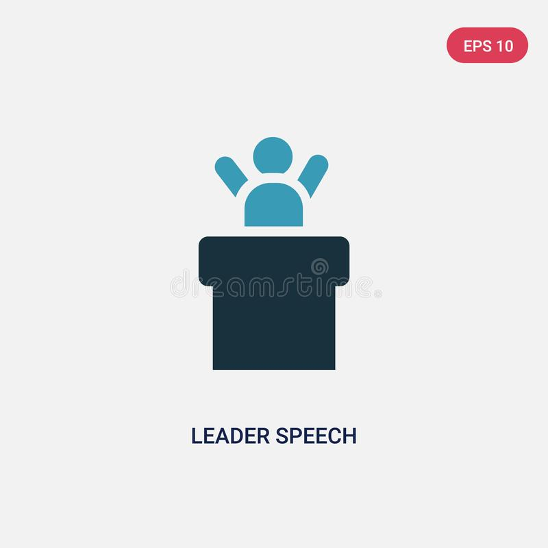 Two color leader speech vector icon from people concept. isolated blue leader speech vector sign symbol can be use for web, mobile stock illustration