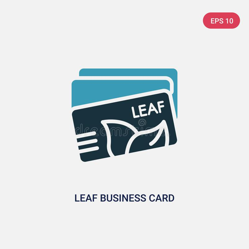 Two color leaf business card vector icon from other concept. isolated blue leaf business card vector sign symbol can be use for vector illustration