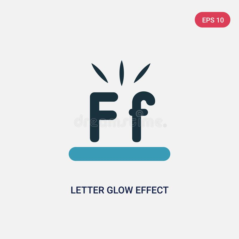Two color letter glow effect vector icon from shapes concept. isolated blue letter glow effect vector sign symbol can be use for vector illustration