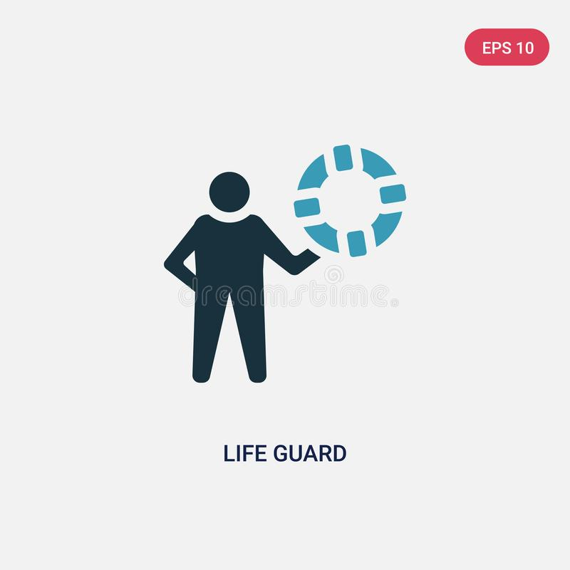 Two color life guard vector icon from summer concept. isolated blue life guard vector sign symbol can be use for web, mobile and vector illustration