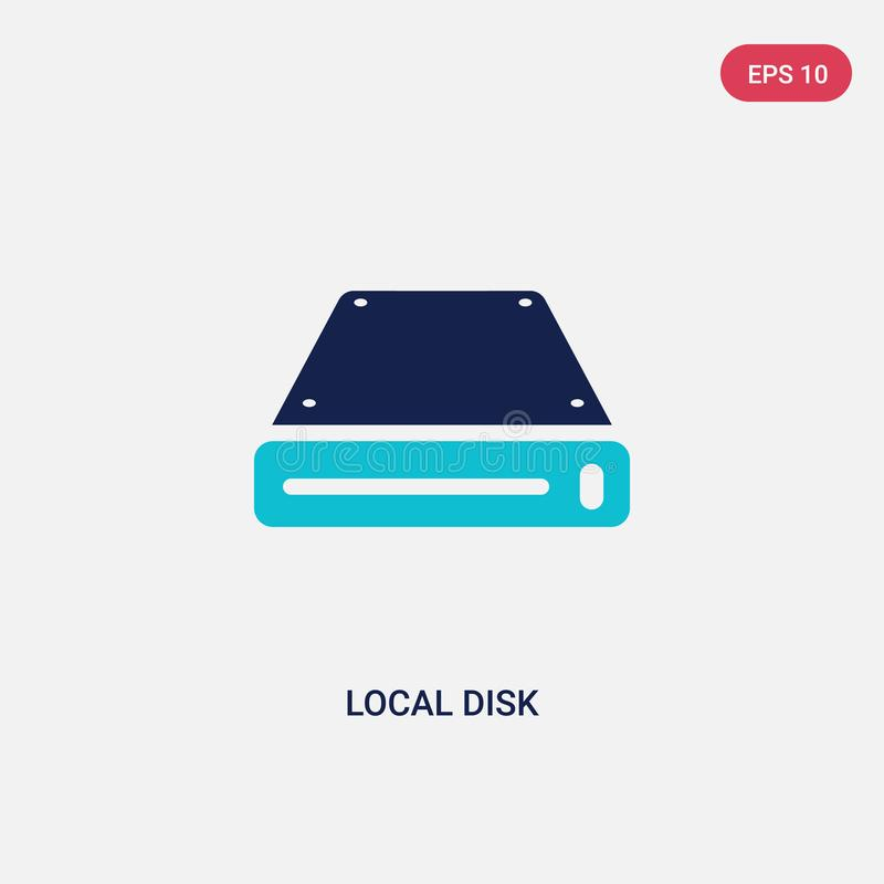 Two color local disk vector icon from hardware concept. isolated blue local disk vector sign symbol can be use for web, mobile and vector illustration