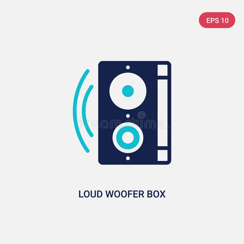 Two color loud woofer box vector icon from cinema concept. isolated blue loud woofer box vector sign symbol can be use for web, royalty free illustration