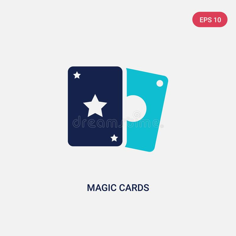 Two color magic cards vector icon from entertainment and arcade concept. isolated blue magic cards vector sign symbol can be use. For web, mobile and logo. eps royalty free illustration