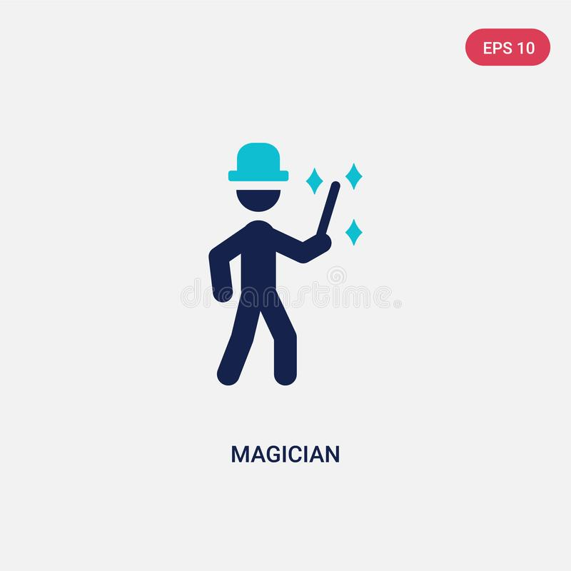 two color magician vector icon from outdoor activities concept. isolated blue magician vector sign symbol can be use for web, royalty free illustration