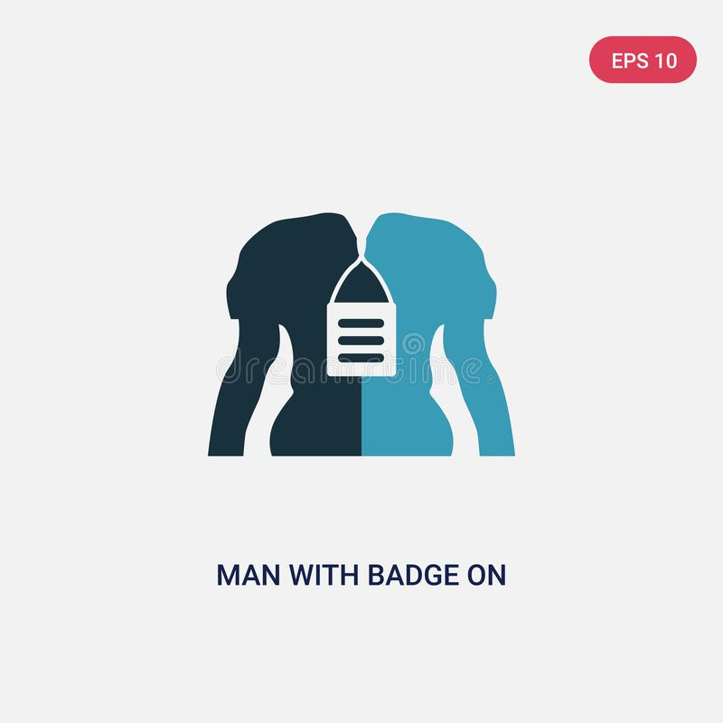 Two color man with badge on his cheast vector icon from signs concept. isolated blue man with badge on his cheast vector sign royalty free illustration