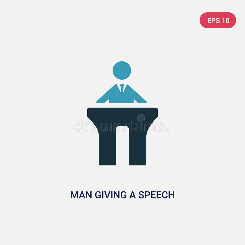 Two color man giving a speech vector icon from people concept. isolated blue man giving a speech vector sign symbol can be use for stock illustration