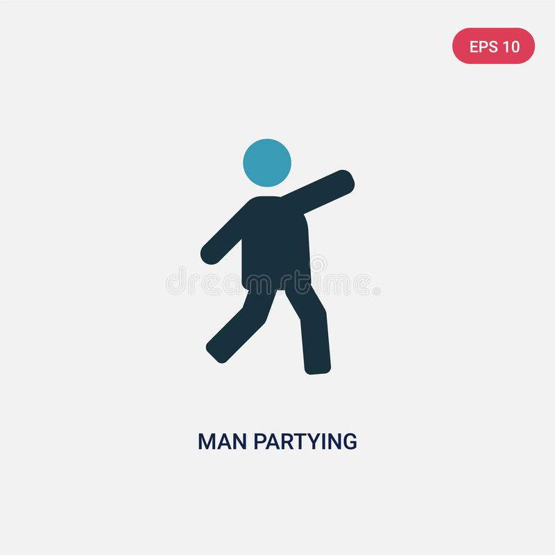 Two color man partying vector icon from people concept. isolated blue man partying vector sign symbol can be use for web, mobile royalty free illustration