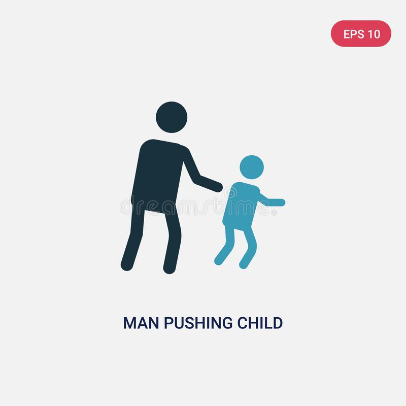 Two color man pushing child vector icon from people concept. isolated blue man pushing child vector sign symbol can be use for web vector illustration