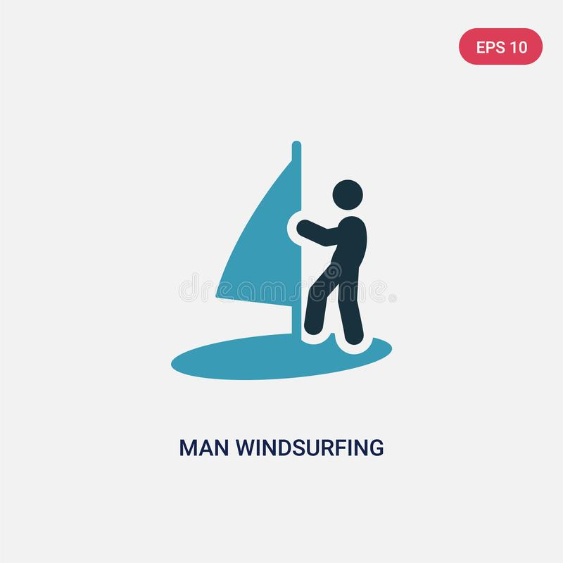 Two color man windsurfing vector icon from sports concept. isolated blue man windsurfing vector sign symbol can be use for web, stock illustration
