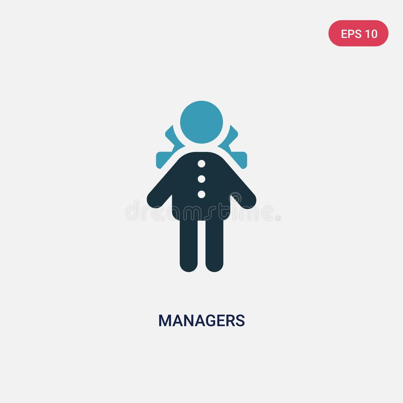 Two color managers vector icon from people concept. isolated blue managers vector sign symbol can be use for web, mobile and logo. Eps 10 royalty free illustration