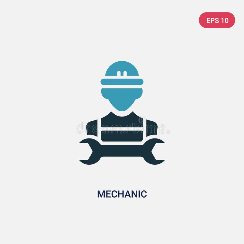Two color mechanic vector icon from professions & jobs concept. isolated blue mechanic vector sign symbol can be use for web, royalty free illustration