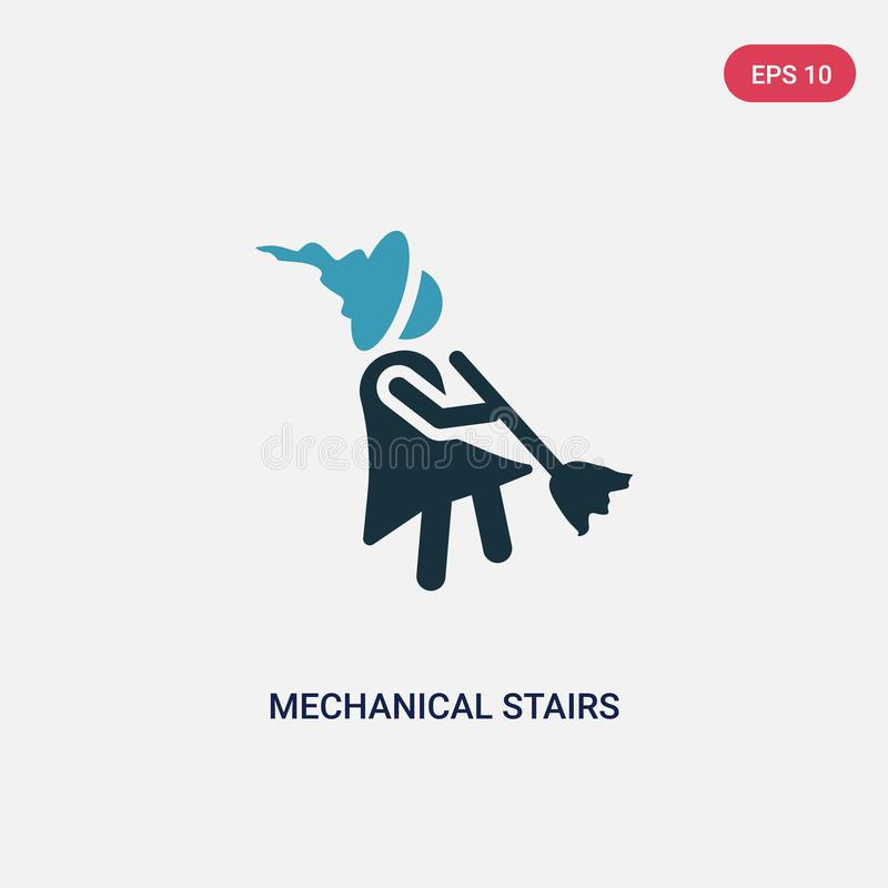 Two color mechanical stairs vector icon from people concept. isolated blue mechanical stairs vector sign symbol can be use for web royalty free illustration