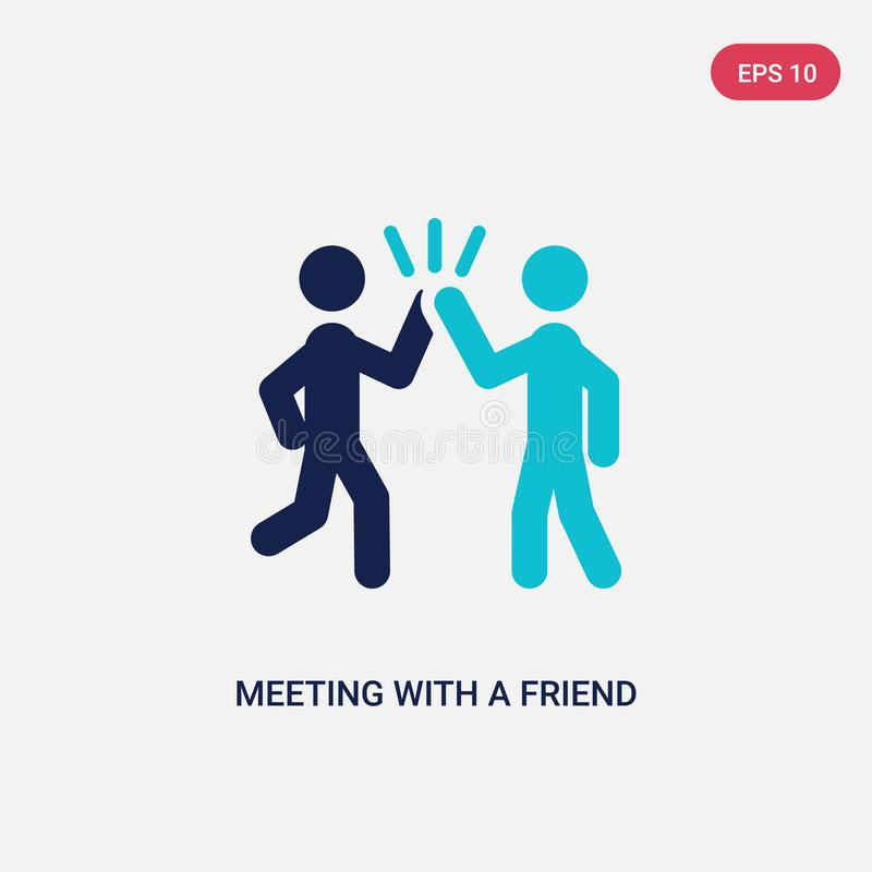 two color meeting with a friend vector icon from activity and hobbies concept. isolated blue meeting with a friend vector sign stock illustration