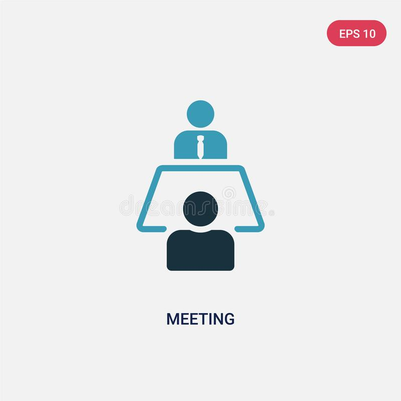 Two color meeting vector icon from strategy concept. isolated blue meeting vector sign symbol can be use for web, mobile and logo vector illustration