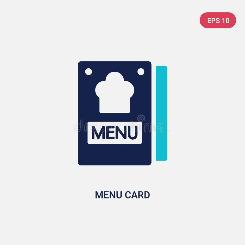 Two color menu card vector icon from bistro and restaurant concept. isolated blue menu card vector sign symbol can be use for web royalty free illustration