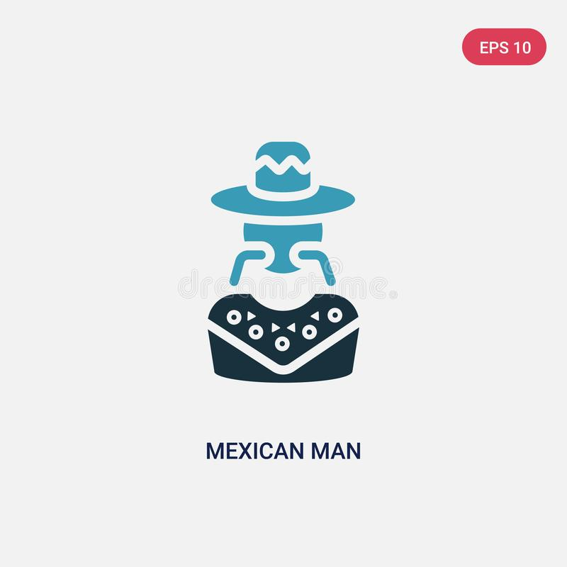 Two color mexican man vector icon from social concept. isolated blue mexican man vector sign symbol can be use for web, mobile and stock illustration