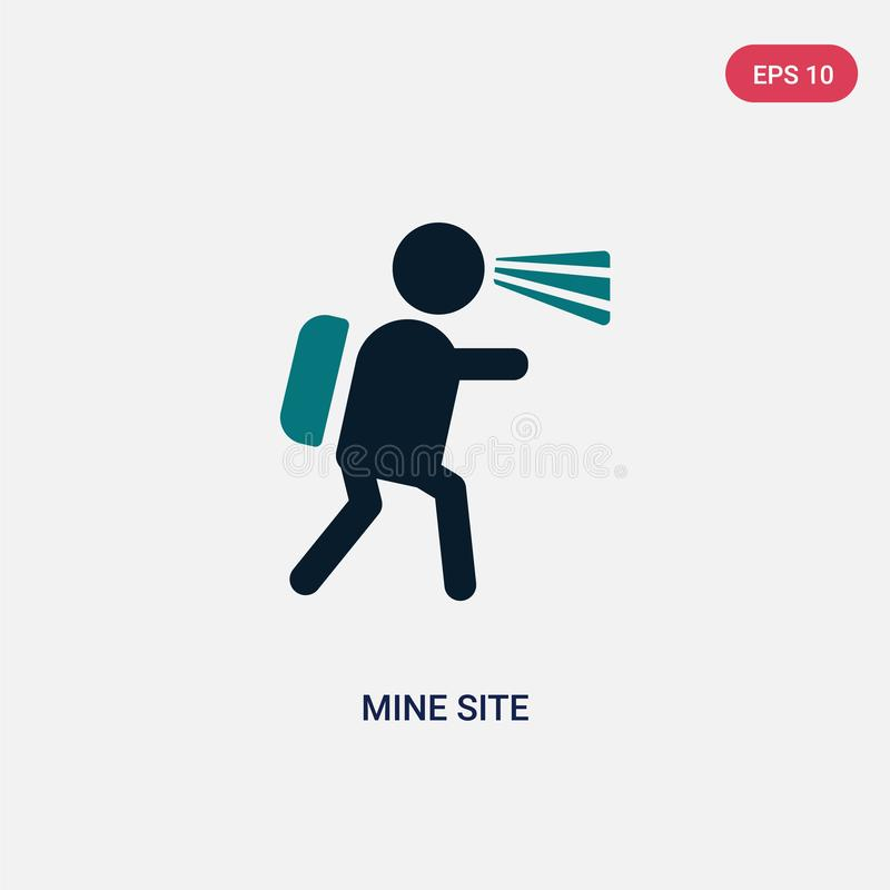 Two color mine site vector icon from maps and flags concept. isolated blue mine site vector sign symbol can be use for web, mobile. And logo. eps 10 royalty free illustration
