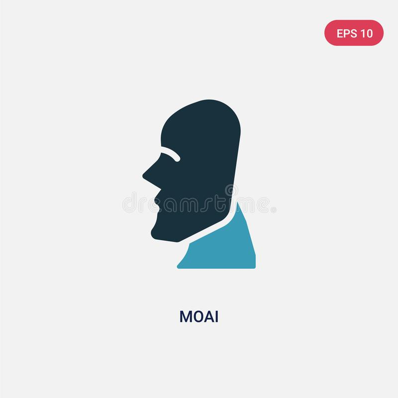Two color moai vector icon from stone age concept. isolated blue moai vector sign symbol can be use for web, mobile and logo. eps vector illustration