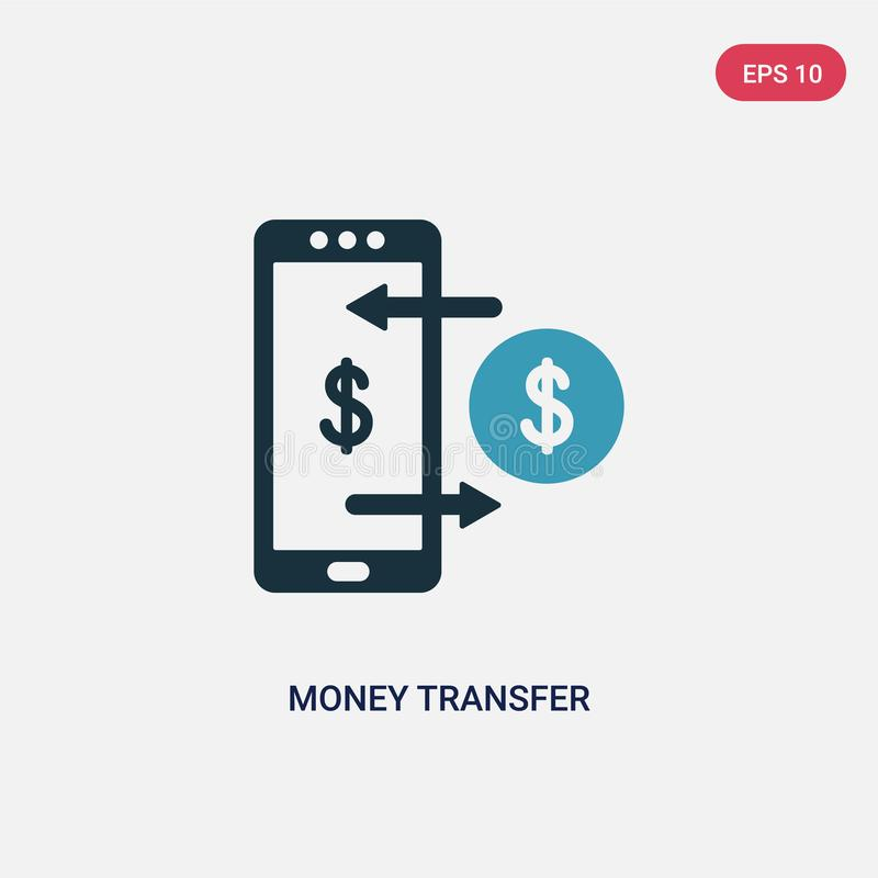 Two color money transfer vector icon from payment concept. isolated blue money transfer vector sign symbol can be use for web, stock illustration