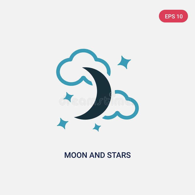 Two color moon and stars vector icon from shapes concept. isolated blue moon and stars vector sign symbol can be use for web, royalty free illustration