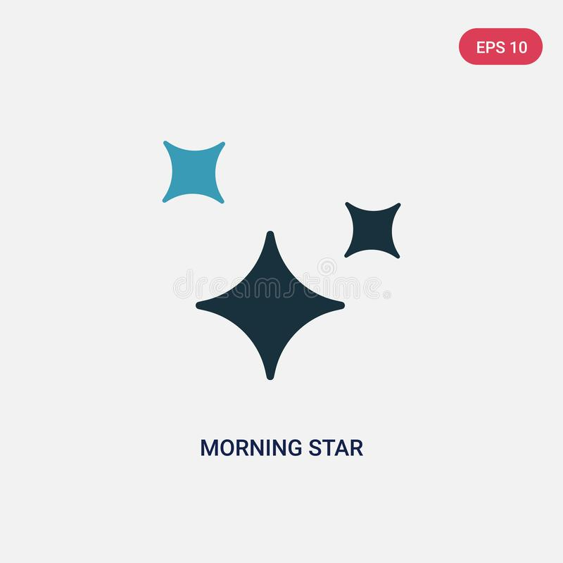 Two color morning star vector icon from shapes concept. isolated blue morning star vector sign symbol can be use for web, mobile vector illustration