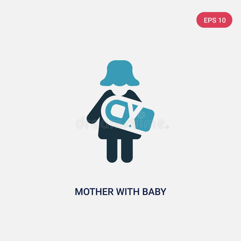 Two color mother with baby in arms vector icon from people concept. isolated blue mother with baby in arms vector sign symbol can stock illustration